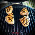 Sword fish steaks on the Big Green Egg Large. Photo Credit Instagram: @jbyrdman1