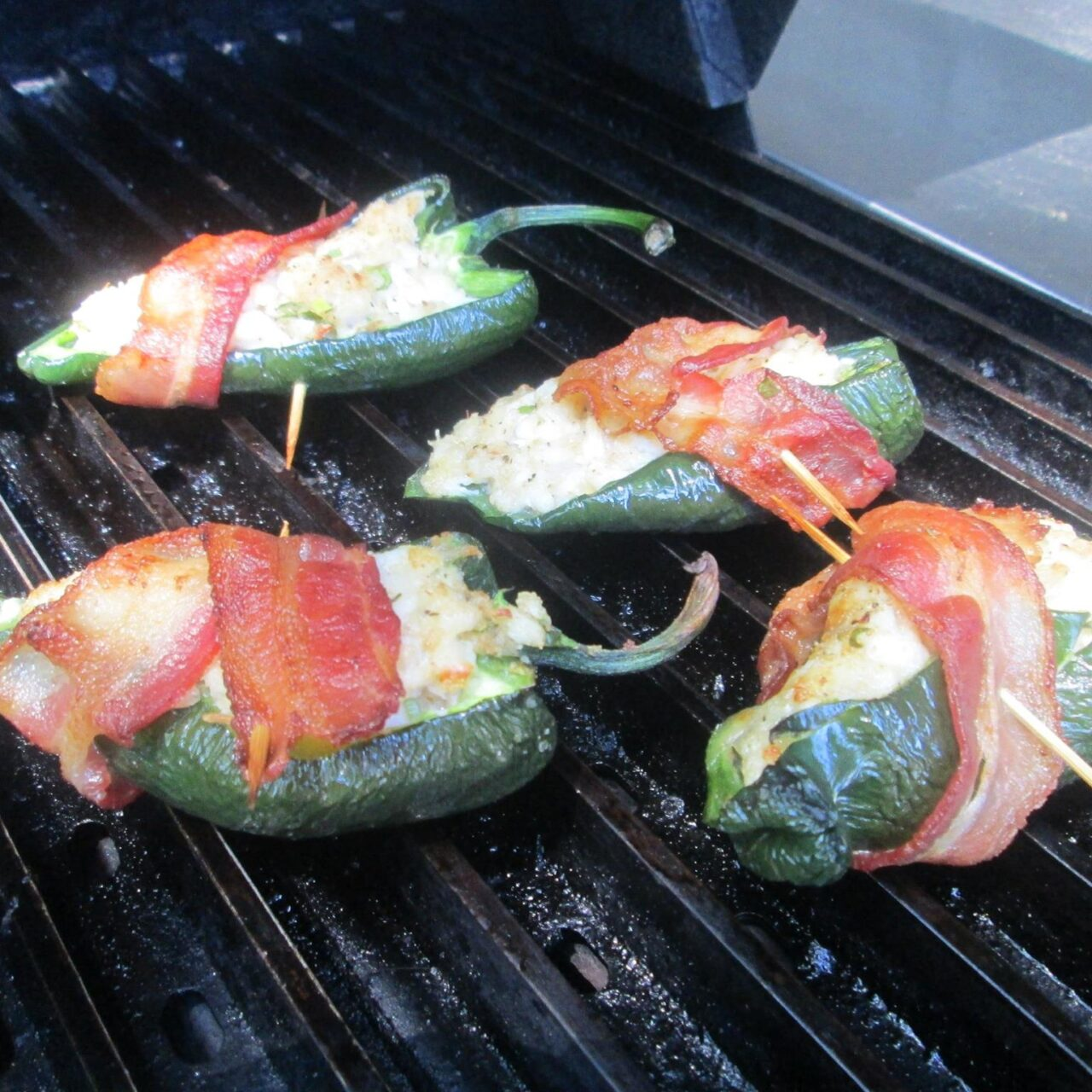 Crab Stuffed, Bacon Wrapped Grilled Poblano Peppers