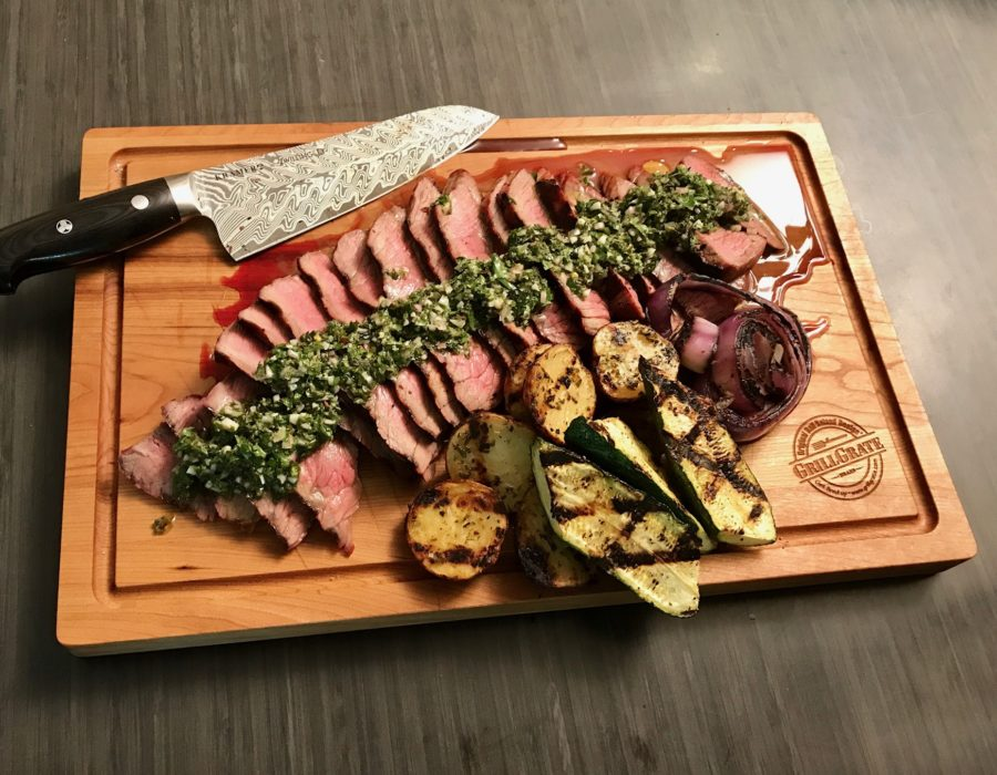 Grilled London Broil with Chimichurri Sauce