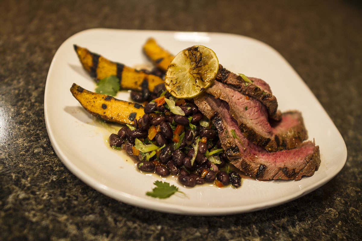 Mojo Marinated Flank Steak with Cuban Black Bean Salsa