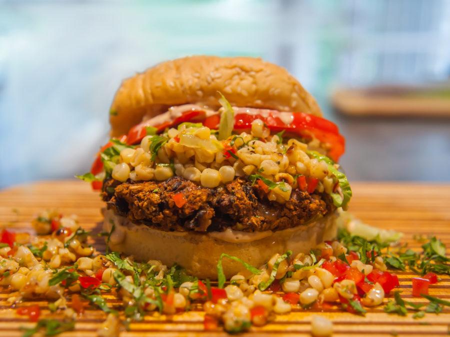 Santa Fe Black Bean Burger with Grilled Corn Salsa