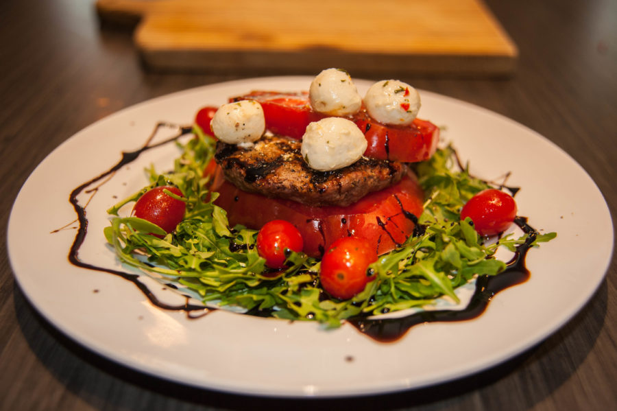 Grass Fed Beef and Vidalia Burger Caprese