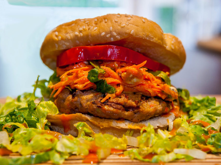 Spicy Buffalo-Blue Cheese Turkey Burger with Creamy Carrot Slaw