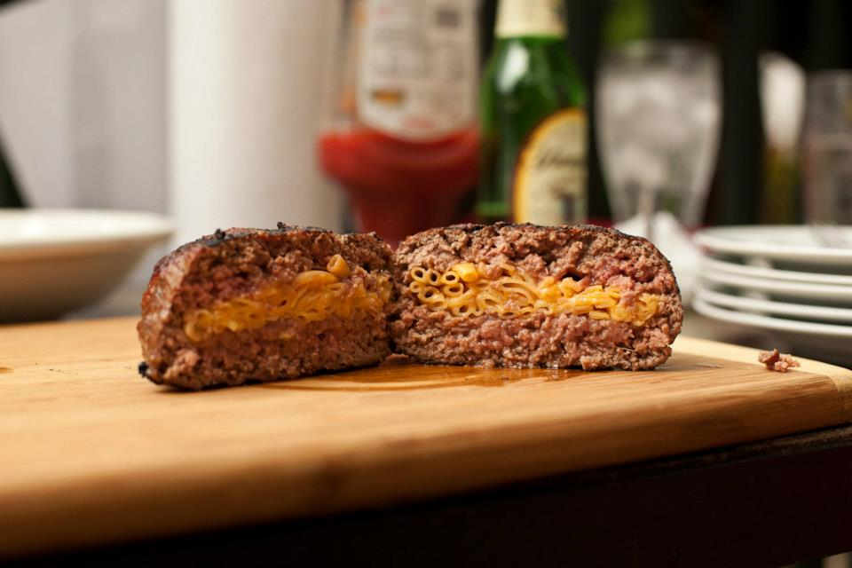 Mac and Cheese Stuffed Burgers