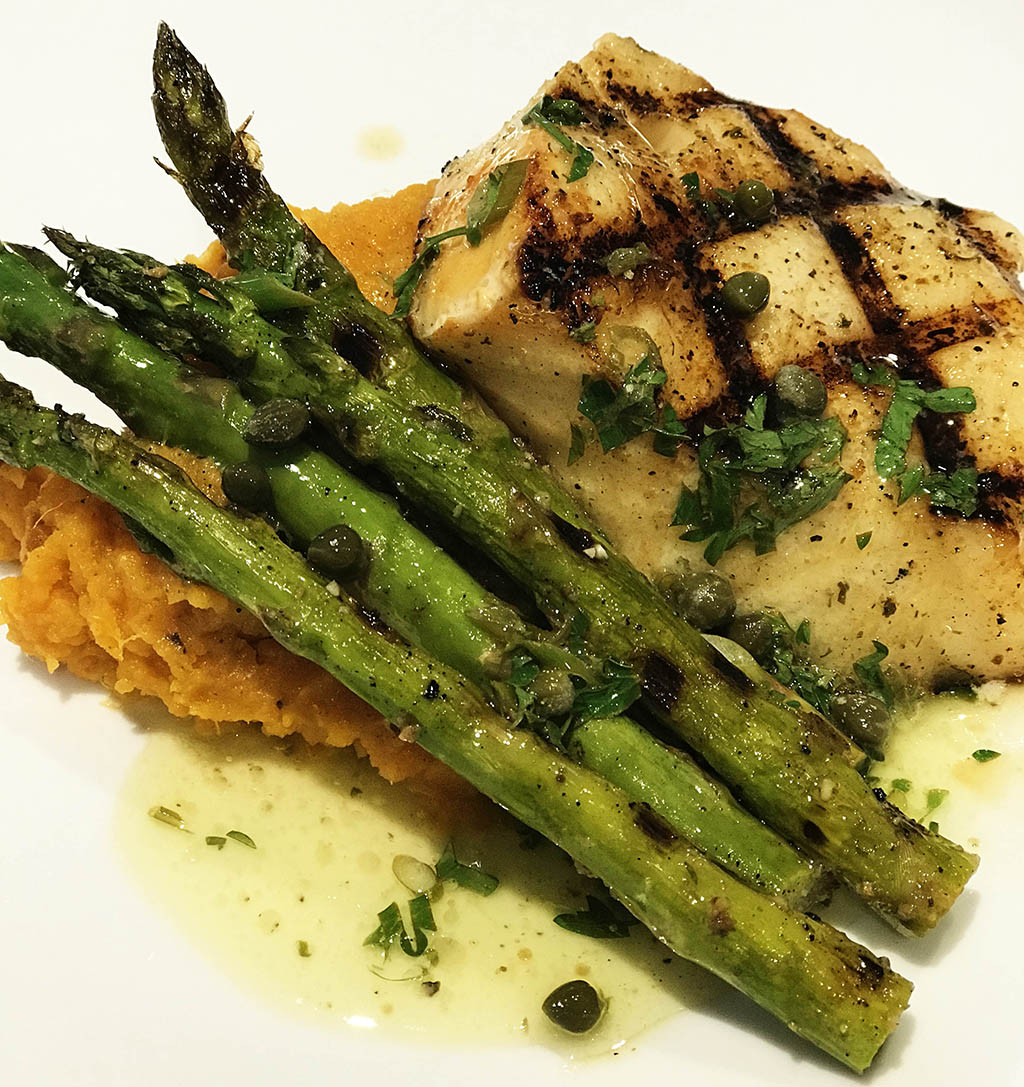 Quick Smoked Hot Seared Chilean Sea Bass with Lemon Caper Butter Sauce