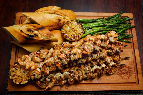 Next Level Grilled Shrimp Skewers with Grilled Lemons
