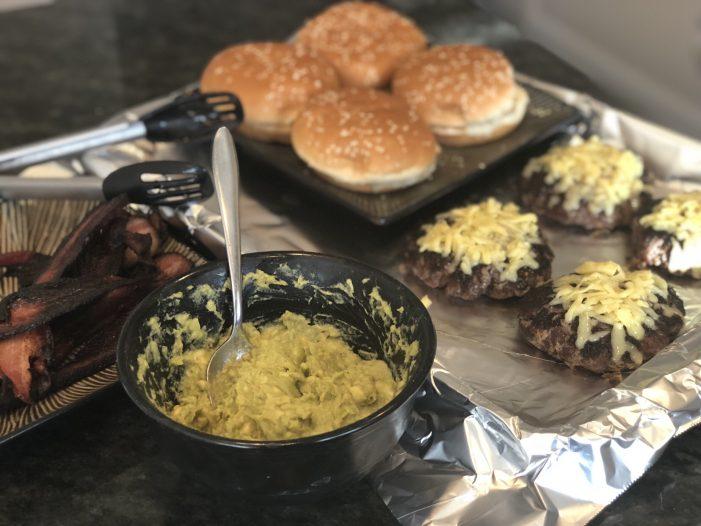 Prime Rib Guacamole Bacon Cheese Burger!